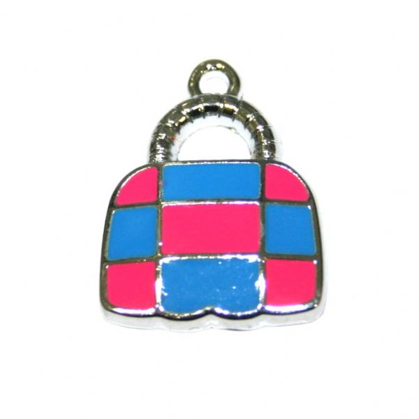 1 x 21*16mm rhodium plated cute handbag with pink / blue checks enamel charm - SD03 - CHE1218